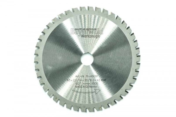 HM Multifunktions-Kreissägeblatt - Ø 165 mm x 2,0 mm x 20/16 mm   Z=42 WWF