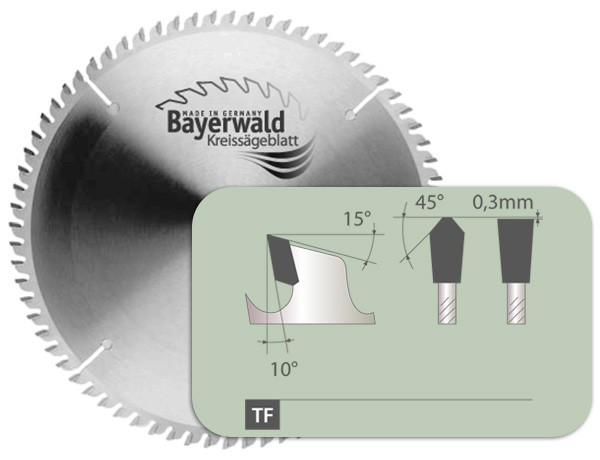 HM Kreissägeblatt - Ø 254 mm x 2,5 mm x 30 mm | TF positiv (84 Zähne)