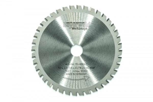 HM Multifunktions-Kreissägeblatt - Ø 150 mm x 2,0 mm x 20/16 mm   Z=40 WWF