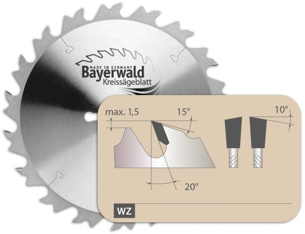 HM Kreissägeblatt - Zahnform Wechselzahn mit Spanabweiser