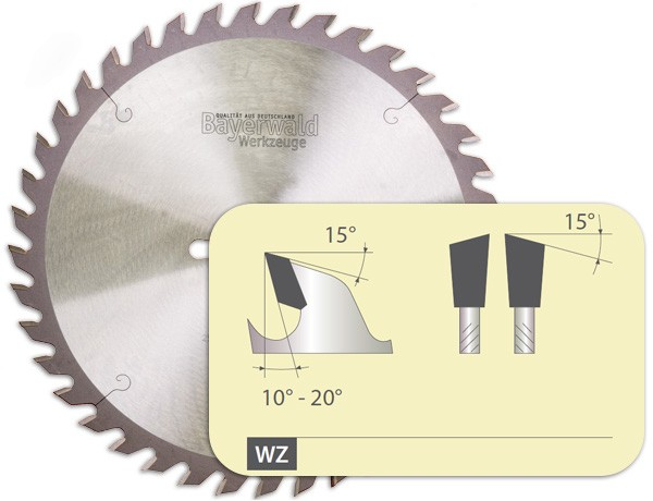 Zahnform - HM Tischkreissägeblatt - 335 mm x 3,2 mm x 30 mm   Z=36 KW